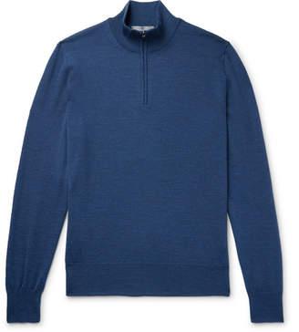 Canali Slim-Fit Mélange Merino Wool Half-Zip Sweater