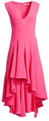Halston Sleeveless V-Neck High-Low Crepe Dress