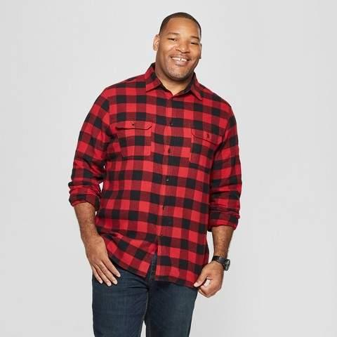 Goodfellow & Co Men's Big & Tall Plaid Standard Fit Flannel Long Sleeve Button-Down Shirt