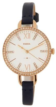 Fossil Women's Annette Crystal Accented Leather Strap Watch, 30mm