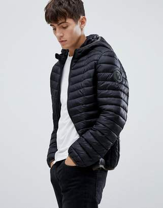 Versace puffer jacket in black with hood