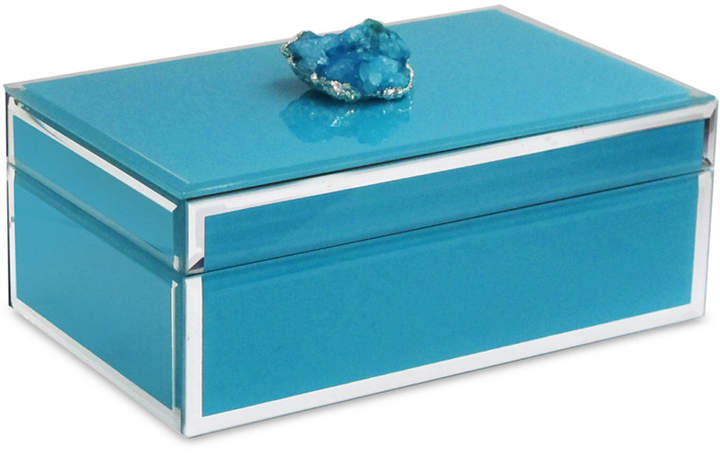 Jay Imports American Atelier' Blue with Dark Blue and Silver Agate Trinket Box
