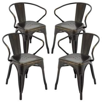 """Vogue Furniture Direct Metals 18"""" seat with back in Antique Black+ Gold FULLY ASSEMBLED VF1671026"""