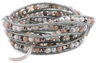 Handmade In Thailand Charm Crystal Leather Wrap Bracelet