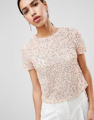 d69322a5351f7d Asos Design DESIGN T-Shirt With Sequin Embellishment
