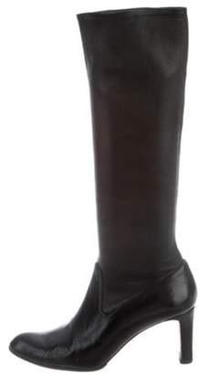 Manolo Blahnik Leather Knee Boots Black Leather Knee Boots