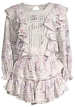 LoveShackFancy Women's Minetta Floral Silk Ruffle Dress