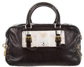 Prada Glace Calf Zippers Satchel