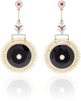 Hanut Singh Circle Of Life 18K White Gold And Multi-Stone Drop Earrings
