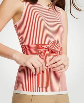 Ann Taylor Petite Stripe Tie Waist Sweater Shell