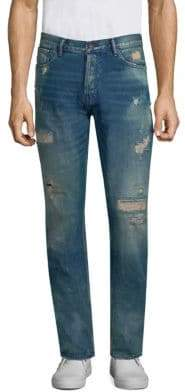 PRPS Distressed Cotton Straight Fit Jeans