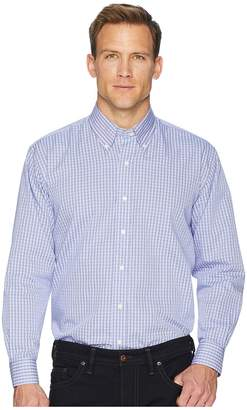 Magna Ready Long Sleeve Magnetically-Infused Check Dress Shirt - Spread Collar Men's Clothing