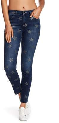 Current/Elliott Star Print Raw Hem Skinny Jeans