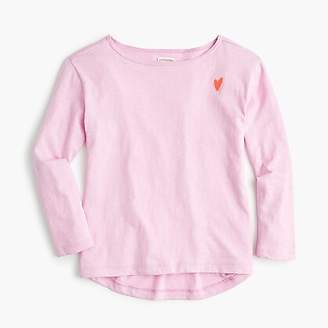 J.Crew Girls' boatneck T-shirt with heart