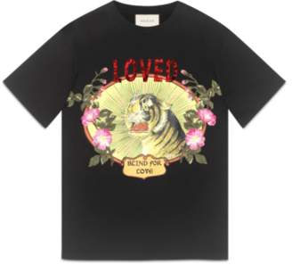 d2076805 at Gucci · Gucci Panther with rays cotton T-shirt