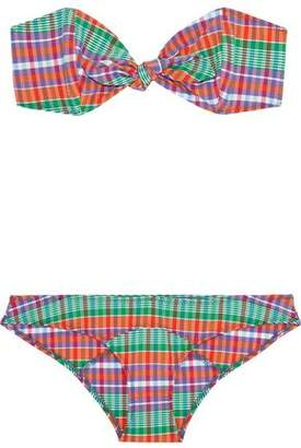 Lisa Marie Fernandez Poppy Knotted Checked Stretch-Cotton Bandeau Bikini