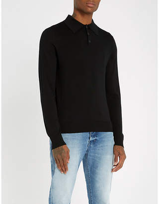 Sandro Long-sleeved knitted polo shirt