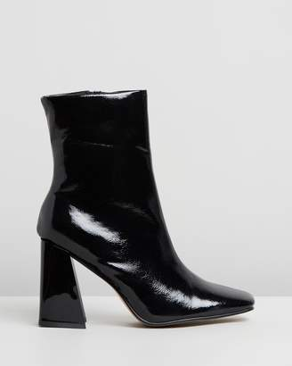 Missguided Square Toe Flare Ankle Boots