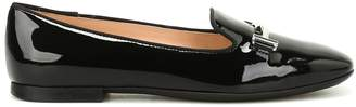 Tod's Tods Double T Patent Leather Slippers