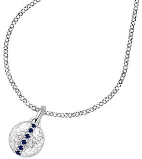 Dower & Hall Large Sterling Silver Small Round Sapphire Locket