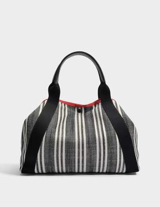 Gerard Darel Simple Red Transat Rayé Bag in Black Canvas