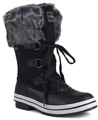 London Fog Avalon II Mid-Calf Faux Fur Trim Boots