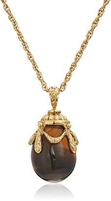 1928 Jewelry 14k Gold Dipped Semi Precious Gemstone Tiger's Eye Egg Pendant Necklace