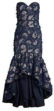 Aidan Mattox Women's Floral Applique Strapless Hi-Lo Gown - Size 0