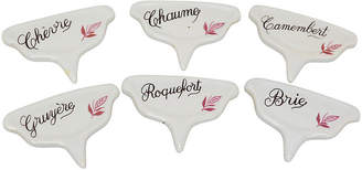 One Kings Lane Vintage French Porcelain Cheese Markers - Set of 6 - Rose Victoria