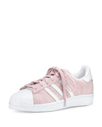Adidas Superstar Original Fashion Sneaker, Clear Pink/White $85 thestylecure.com