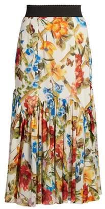Dolce & Gabbana Floral Print Midi Skirt - Womens - White Multi