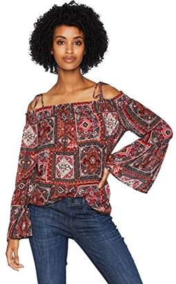 Serene Bohemian Women's Frilled Sleeve Off-Shoulder Printed Top Multi-Coloured (S)