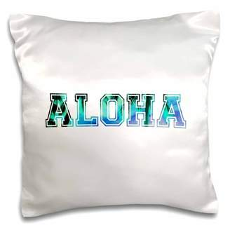 3dRose Aloha in blue turquoise teal sky with black silhouette of Hawaiian palm trees tropical Hawaii saying - Pillow Case, 16 by 16-inch