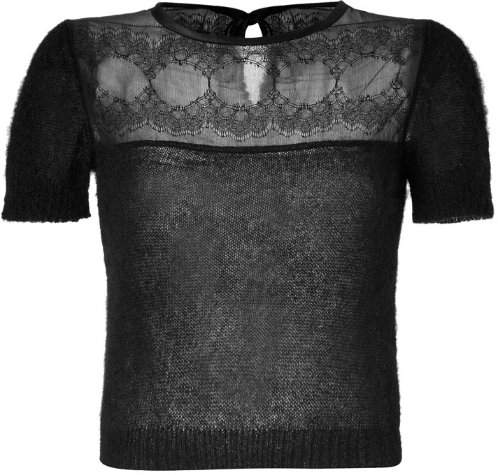 Alberta Ferretti Sheer Knit Top with Lace Panel in Black