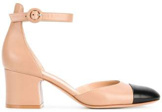 Gianvito Rossi Nude & Black 60 Ankle Strap Heels