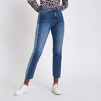 River Island Mid blue Bella straight leg panel jeans
