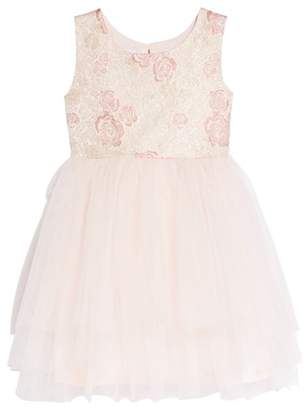 Frais Rose Jacquard Fit & Flare Dress