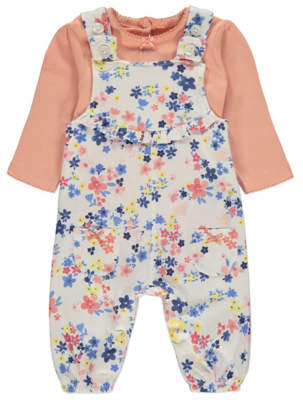 George Floral Dungarees and Bodysuit Outfit