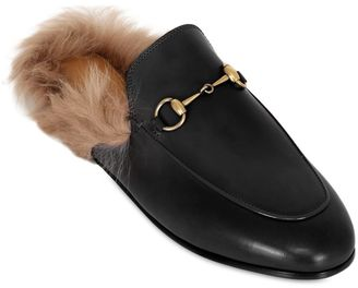 10mm Princetown Leather & Fur Mules $995 thestylecure.com