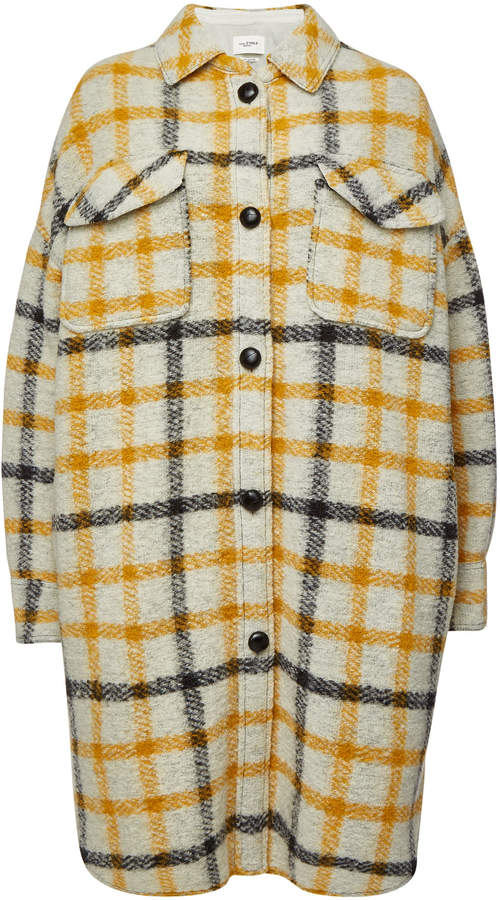 toile Gario Checked Coat with Wool