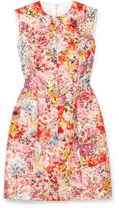Valentino Floral-print Wool And Silk-blend Crepe Mini Dress - Pink