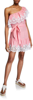 Miguelina Summer One-Shoulder Cotton Mini Dress w/ Lace