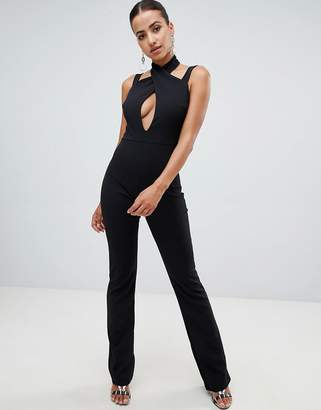 Club L strap detailed wide leg jumpsuit