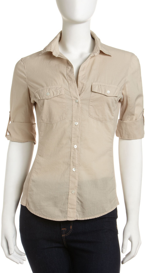 James Perse Ribbed-Side Button-Down Shirt