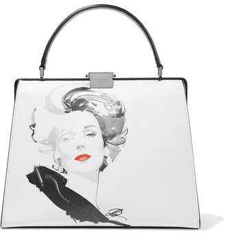Michael Kors David Downton Brooke Printed Leather Tote - White