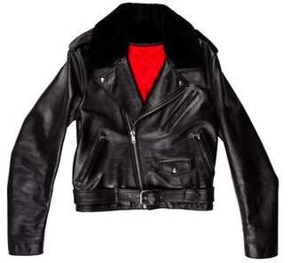 Calvin Klein Shearling-Accented Biker Jacket