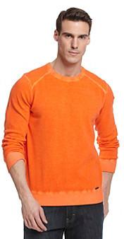 Calvin Klein Jeans Men's Spice Orange Dyed Acid Wash Sweater