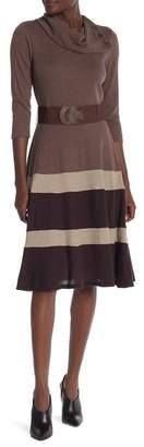 Robbie Bee Stripe Hem Knit Midi Dress