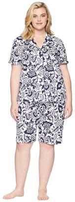 Lauren Ralph Lauren Plus Size Notch Collar Bermuda Pajama Set Women's Pajama Sets