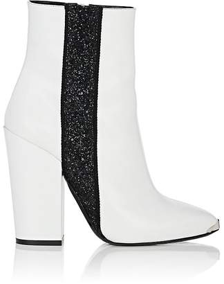 Amiri Women's Glitter-Stripe Leather Ankle Boots